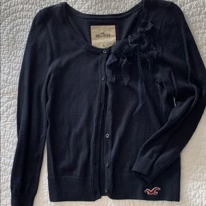 Hollister navy cardigan with bow detail